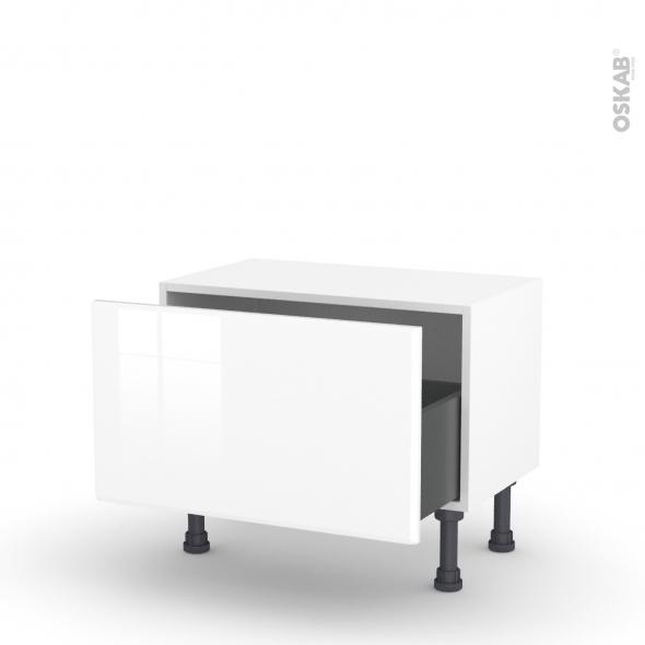 Meuble de cuisine - Bas - IRIS Blanc - 1 casserolier - L60 x H35 x P37 cm