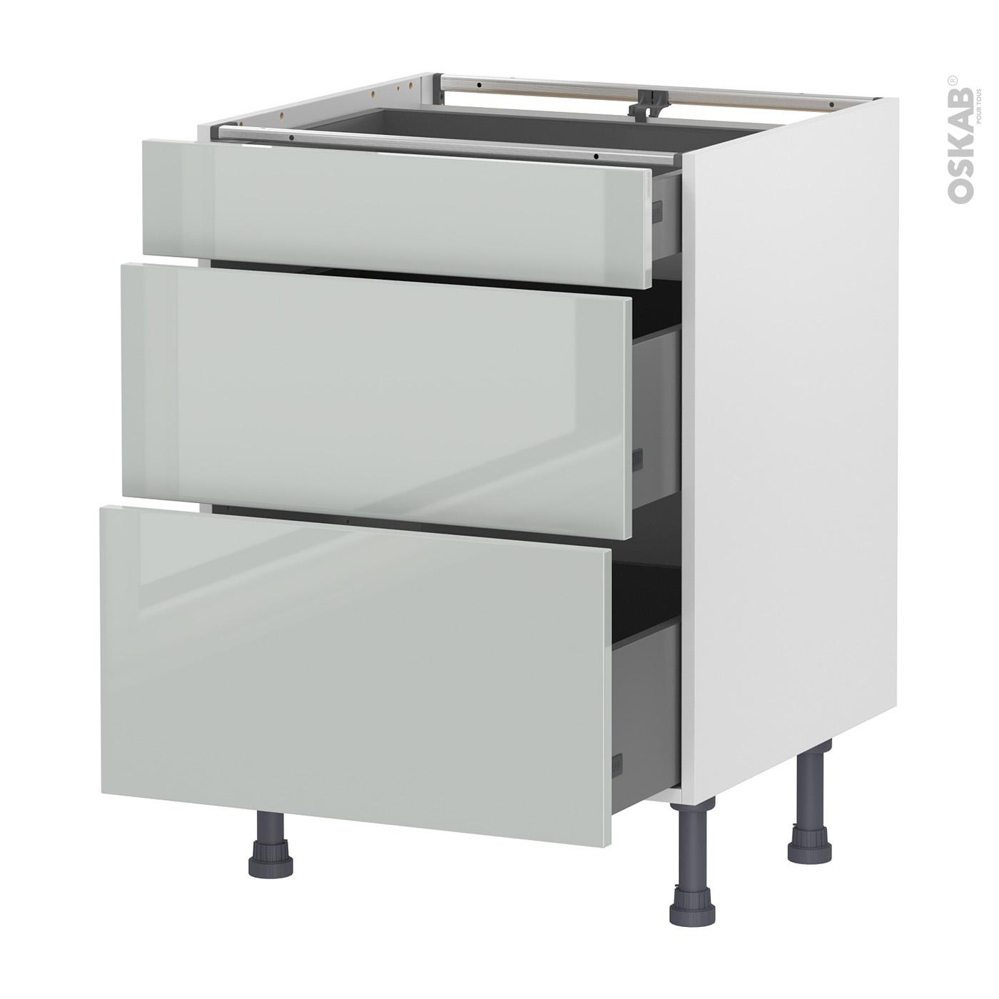 Meuble de cuisine Casserolier IVIA Gris, 11 tiroirs, L11 x H11 x P11 cm