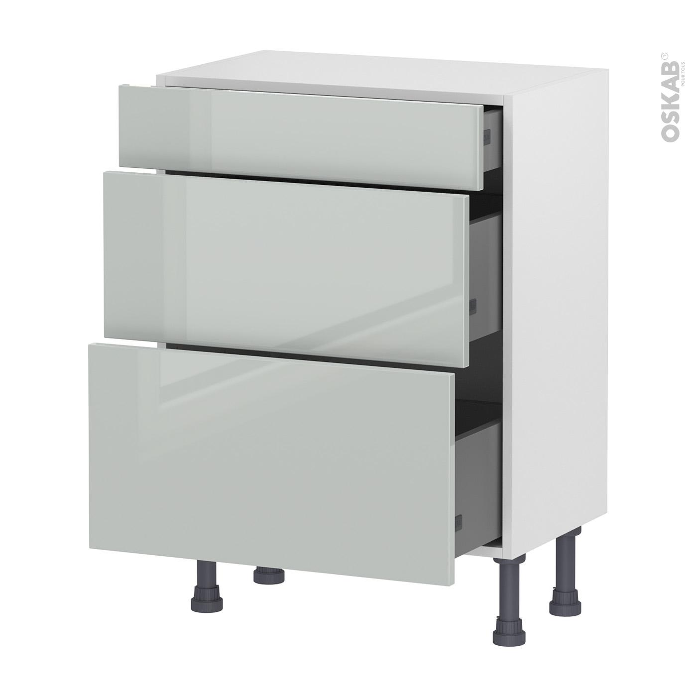 Meuble de cuisine Bas IVIA Gris, 11 tiroirs, L11 x H11 x P117 cm