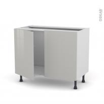 Meuble de cuisine - Sous évier - IVIA Gris - 2 portes - L100 x H70 x P58 cm