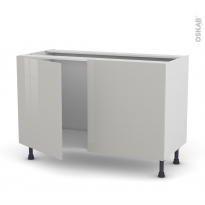 Meuble de cuisine - Sous évier - IVIA Gris - 2 portes - L120 x H70 x P58 cm
