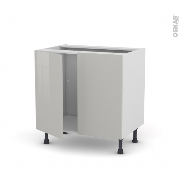 Meuble de cuisine - Sous évier - IVIA Gris - 2 portes - L80 x H70 x P58 cm
