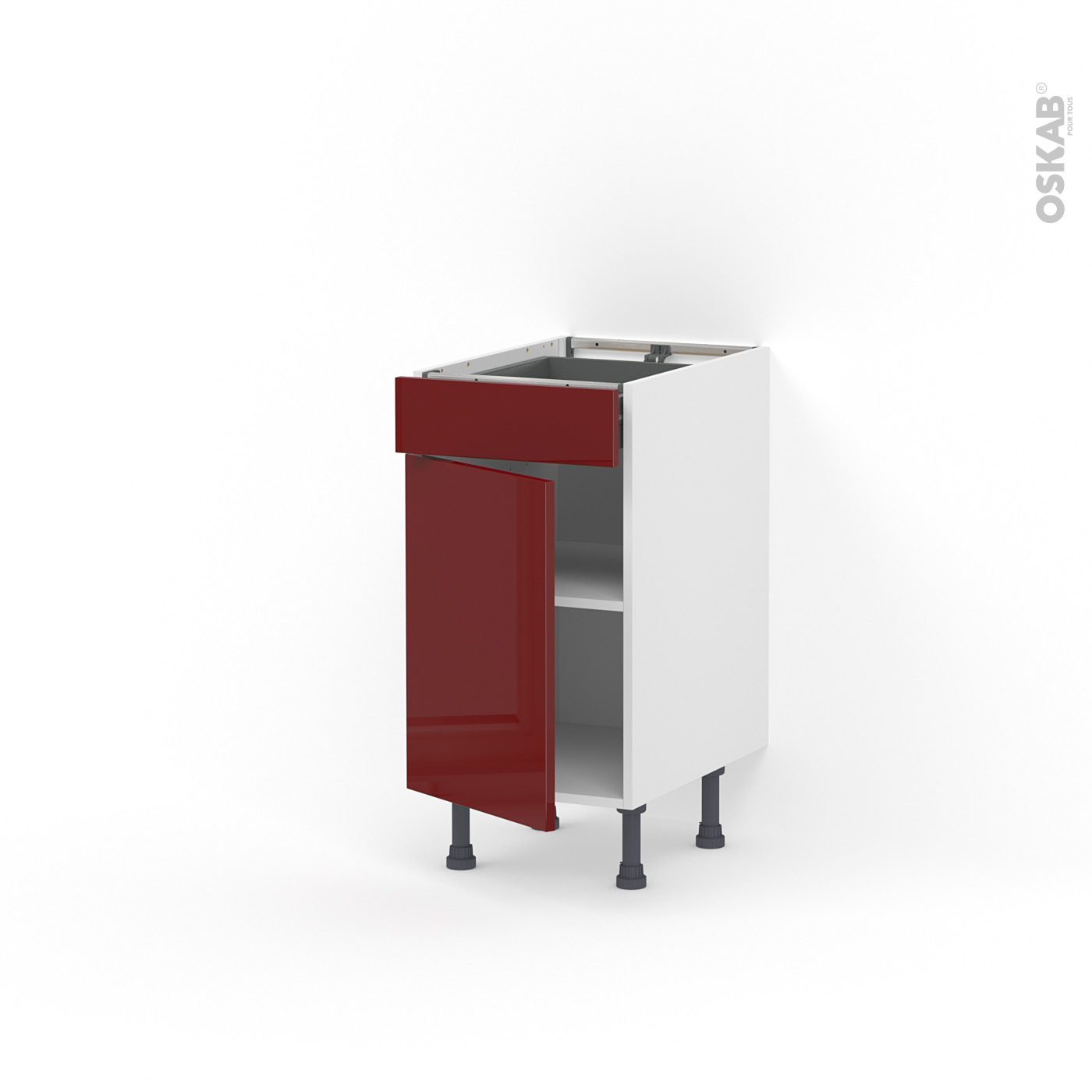 Meuble de cuisine Bas IVIA Rouge, 1111 porte 1111 tiroir , L11 x H11 x P11 cm