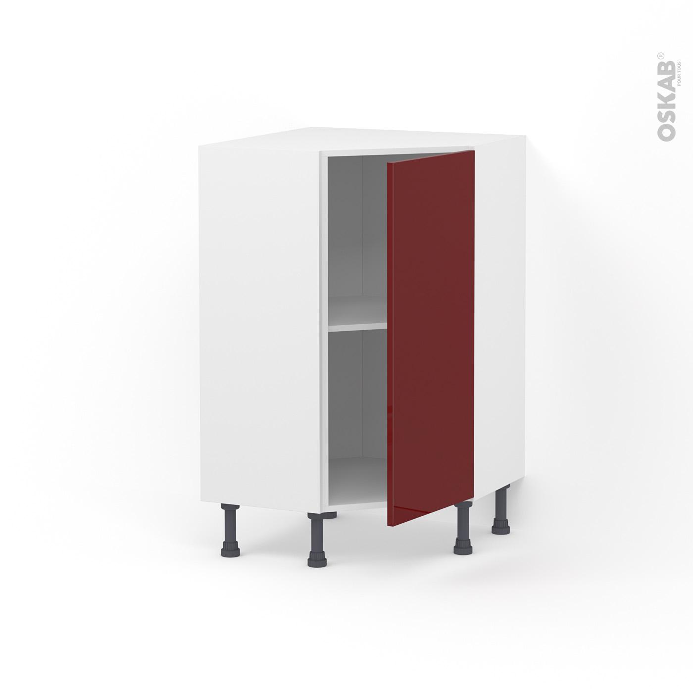 Meuble de cuisine Angle bas IVIA Rouge, 10 porte N°10 L10 cm, L10 x H10 x  P10cm
