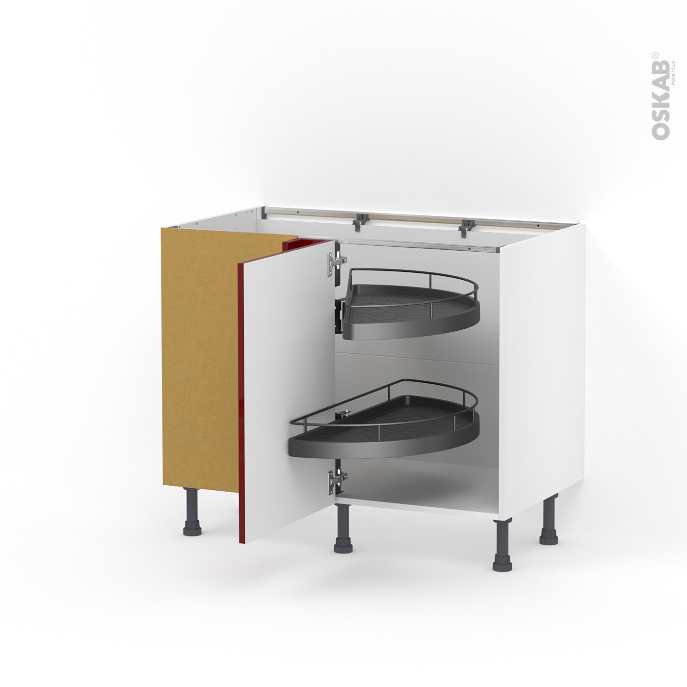 Meuble de cuisine Angle bas IVIA Rouge, Demi lune EPOXY, 10 porte N°10 L10  cm, L100 x H10 x P10 cm