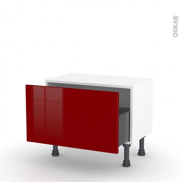 Meuble de cuisine - Bas - IVIA Rouge - 1 casserolier - L60 x H35 x P37 cm