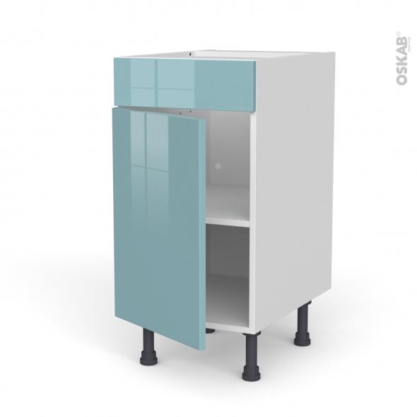 Meuble de cuisine - Bas - Faux tiroir haut - KERIA Bleu - 1 porte  - L40 x H70 x P58 cm