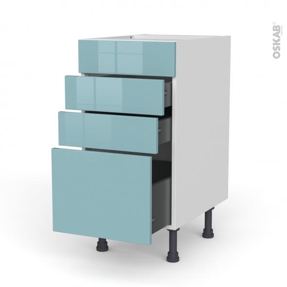 Meuble de cuisine - Casserolier - Faux tiroir haut - KERIA Bleu - 3 tiroirs - L40 x H70 x P58 cm