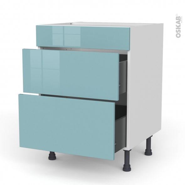 Meuble de cuisine - Casserolier - Faux tiroir haut - KERIA Bleu - 2 tiroirs - L60 x H70 x P58 cm
