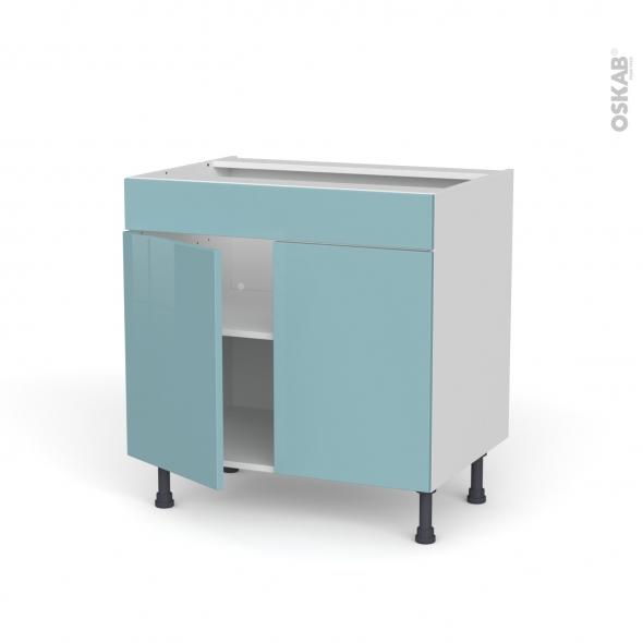 Meuble de cuisine - Bas - Faux tiroir haut - KERIA Bleu - 2 portes - L80 x H70 x P58 cm