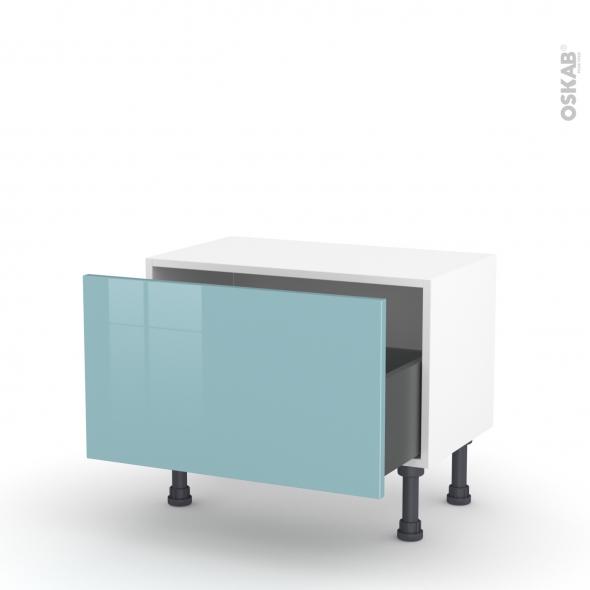 Meuble de cuisine - Bas - KERIA Bleu - 1 casserolier - L60 x H35 x P37 cm