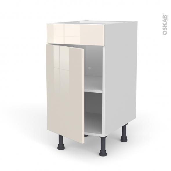 Meuble de cuisine - Bas - Faux tiroir haut - KERIA Ivoire - 1 porte  - L40 x H70 x P58 cm
