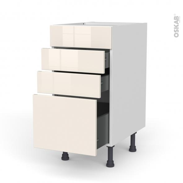 Meuble de cuisine - Casserolier - Faux tiroir haut - KERIA Ivoire - 3 tiroirs - L40 x H70 x P58 cm