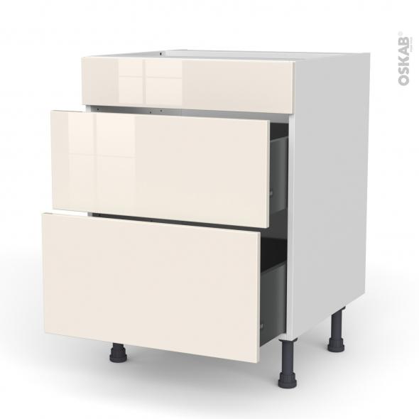 Meuble de cuisine - Casserolier - Faux tiroir haut - KERIA Ivoire - 2 tiroirs - L60 x H70 x P58 cm