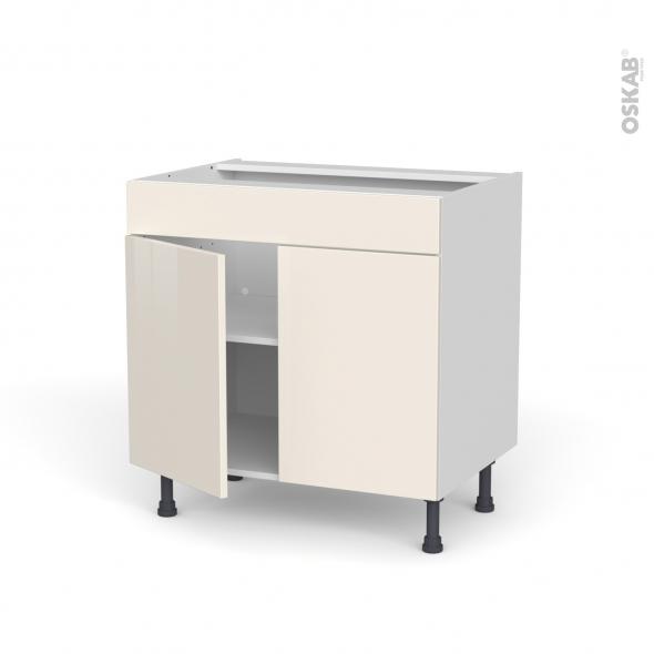 Meuble de cuisine - Bas - Faux tiroir haut - KERIA Ivoire - 2 portes - L80 x H70 x P58 cm