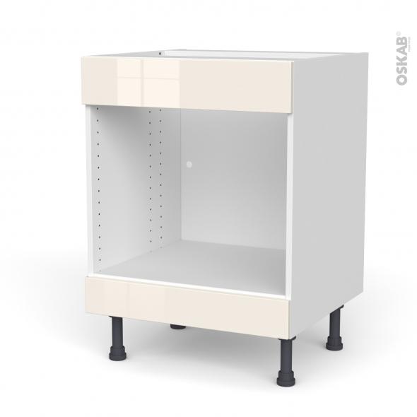 Meuble de cuisine - Bas MO encastrable niche 45 - Faux tiroir haut - KERIA Ivoire - L60 x H70 x P58 cm