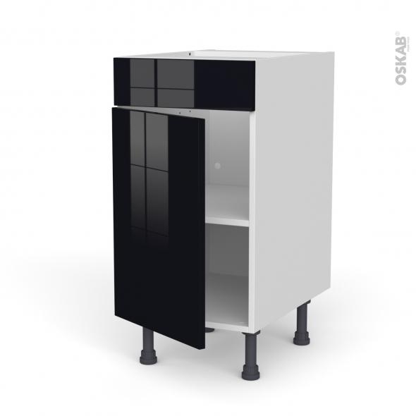 Meuble de cuisine - Bas - Faux tiroir haut - KERIA Noir - 1 porte  - L40 x H70 x P58 cm