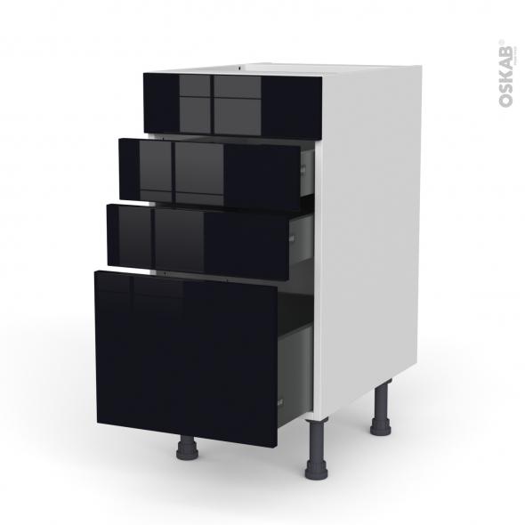 Meuble de cuisine - Casserolier - Faux tiroir haut - KERIA Noir - 3 tiroirs - L40 x H70 x P58 cm