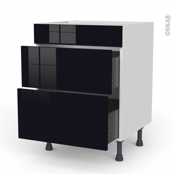 Meuble de cuisine - Casserolier - Faux tiroir haut - KERIA Noir - 2 tiroirs - L60 x H70 x P58 cm