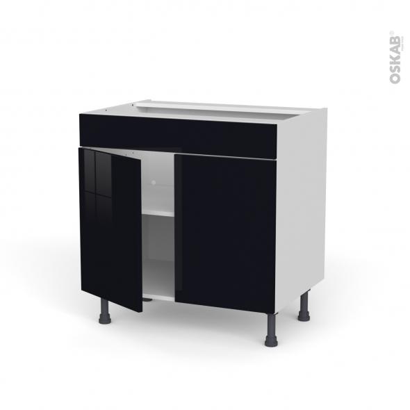 Meuble de cuisine - Bas - Faux tiroir haut - KERIA Noir - 2 portes - L80 x H70 x P58 cm