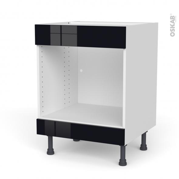 Meuble de cuisine - Bas MO encastrable niche 45 - Faux tiroir haut - KERIA Noir - L60 x H70 x P58 cm