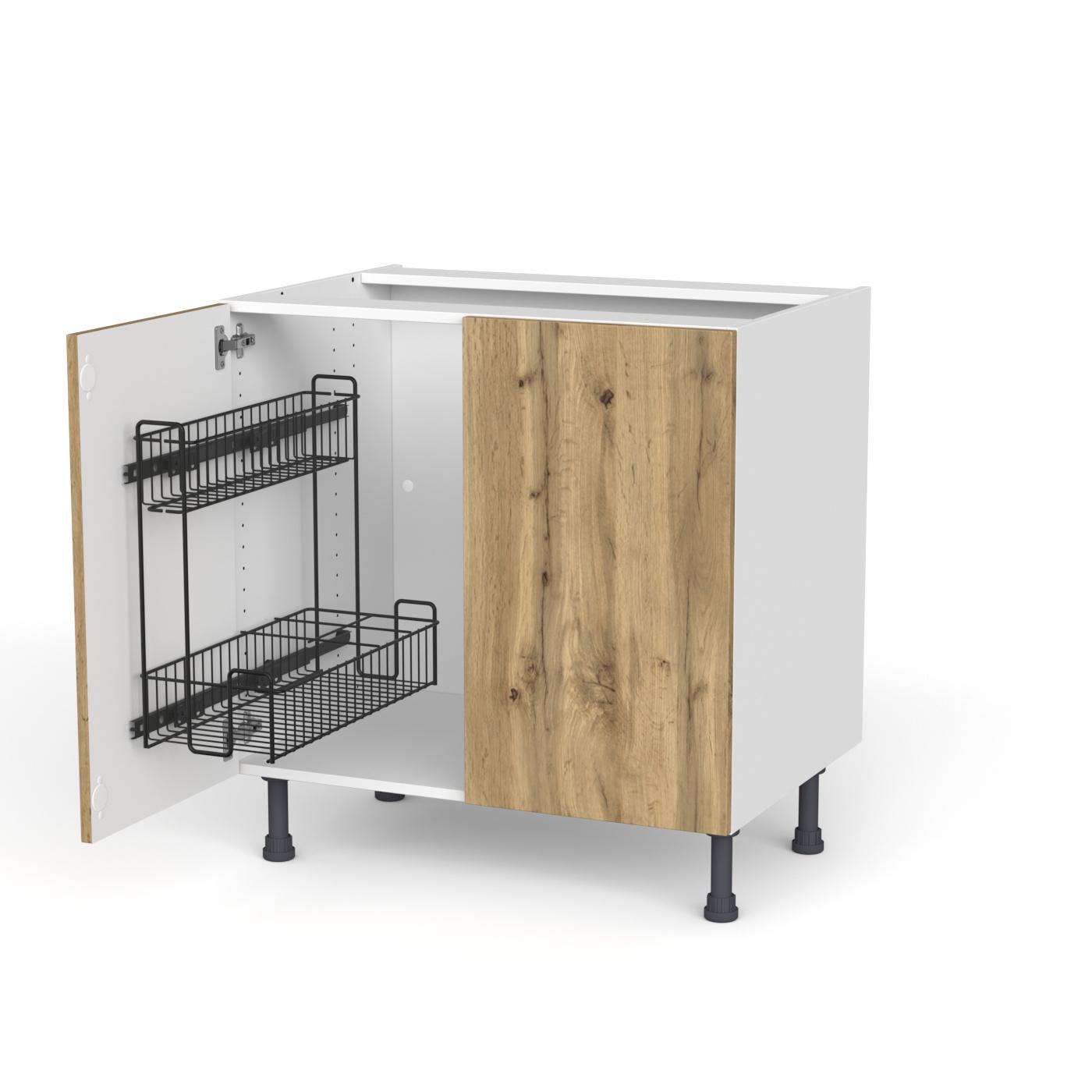 Meuble de cuisine Sous évier OKA Chêne, 14 portes lessiviel, L14 x H14 x P14  cm