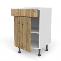 Meuble de cuisine - Bas - OKA Chêne - 1 porte 1 tiroir  - L50 x H70 x P58 cm