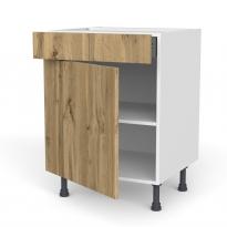 Meuble de cuisine - Bas - OKA Chêne - 1 porte 1 tiroir - L60 x H70 x P58 cm