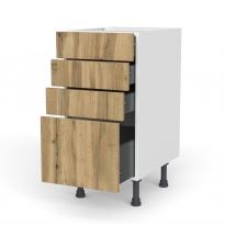 Meuble de cuisine - Casserolier - OKA Chêne - 4 tiroirs - L40 x H70 x P58 cm
