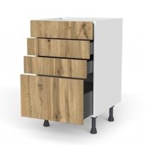 Meuble de cuisine - Casserolier - OKA Chêne - 4 tiroirs - L50 x H70 x P58 cm