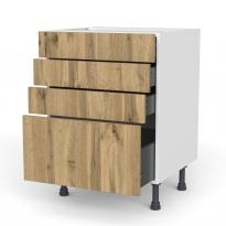 Meuble de cuisine - Casserolier - OKA Chêne - 4 tiroirs - L60 x H70 x P58 cm