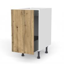 Meuble de cuisine - Bas coulissant - OKA Chêne - 1 porte 1 tiroir à l'anglaise - L40 x H70 x P58 cm