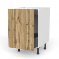 Meuble de cuisine - Bas coulissant - OKA Chêne - 1 porte 1 tiroir à l'anglaise - L50 x H70 x P58 cm