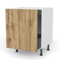 Meuble de cuisine - Bas coulissant - OKA Chêne - 1 porte 1 tiroir à l'anglaise - L60 x H70 x P58 cm