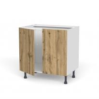 Meuble de cuisine - Sous évier - OKA Chêne - 2 portes - L80 x H70 x P58 cm