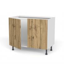 Meuble de cuisine - Sous évier - OKA Chêne - 2 portes - L100 x H70 x P58 cm