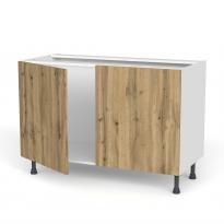 Meuble de cuisine - Sous évier - OKA Chêne - 2 portes - L120 x H70 x P58 cm