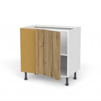 Meuble de cuisine - Angle bas réversible - OKA Chêne - 1 porte N°19 L40 cm - L80 x H70 x P58 cm