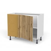 Meuble de cuisine - Angle bas réversible - OKA Chêne - 1 porte N°20 L50 cm - L100 x H70 x P58 cm