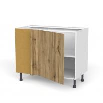 Meuble de cuisine - Angle bas réversible - OKA Chêne - 1 porte N°21 L60 cm - L100 x H70 x P58 cm