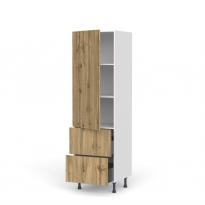 Colonne de cuisine N°2757 - Armoire étagère - OKA Chêne - 2 tiroirs casserolier - L60 x H195 x P58 cm