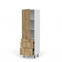 Colonne de cuisine N°2758 - Armoire étagère - OKA Chêne - 3 tiroirs casserolier - L60 x H195 x P58 cm