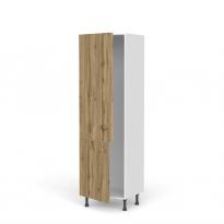 Colonne de cuisine N°2721 - Armoire frigo encastrable - OKA Chêne - 2 portes - L60 x H195 x P58 cm