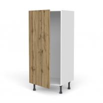 Colonne de cuisine N°27 - Armoire frigo encastrable - OKA Chêne - 1 porte - L60 x H125 x P58 cm