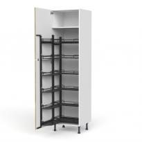 Colonne de cuisine N°2724 - Armoire de rangement ouvrante - OKA Chêne - 12 paniers plateaux - L60 x H217 x P58 cm