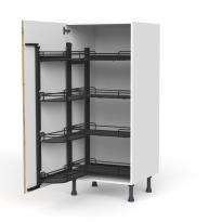Colonne de cuisine N°27 - Armoire de rangement ouvrante - OKA Chêne - 8 paniers plateaux - L60 x H125 x P58 cm