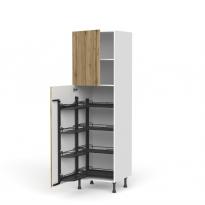 Colonne de cuisine N°2127 - Armoire de rangement ouvrante - OKA Chêne - 8 paniers plateaux - L60 x H195 x P58 cm