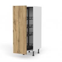 Colonne de cuisine N°26 - Armoire de rangement - OKA Chêne - 4 paniers plateaux - L40 x H125 x P58 cm