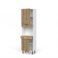 Colonne de cuisine N°2156 - Four encastrable niche 45  - OKA Chêne - 2 portes 1 tiroir - L60 x H195 x P37 cm