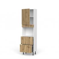 Colonne de cuisine N°2157 - Four encastrable niche 45  - OKA Chêne - 1 porte 2 casseroliers - L60 x H195 x P37 cm